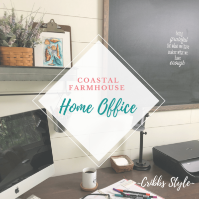 Coastal farmhouse inspired home office.