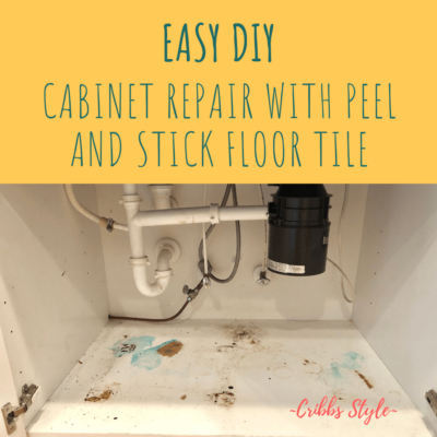 Easy Cabinet Repair Using Peel and Stick Floor Tile