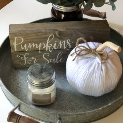 Easy Up-Cycled Sweater Dollar Store Halloween Pumpkin Craft