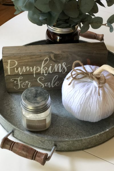 Dollar store pumpkin, Halloween, Sweater Upcycle