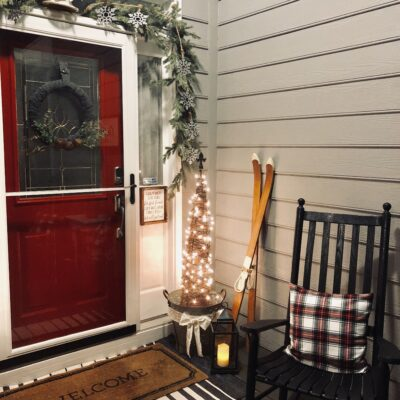 Simple outdoor rustic holiday porch