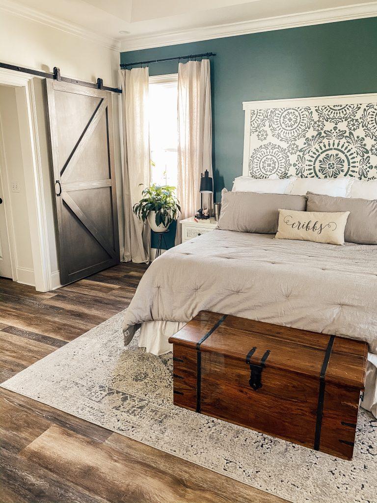 faux headboard, luxury vinyl plank flooring