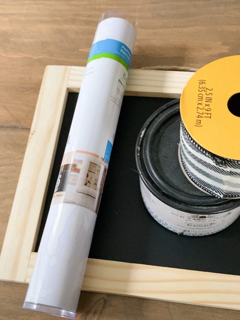 Vinyl, chalkboard, stain, ribbon