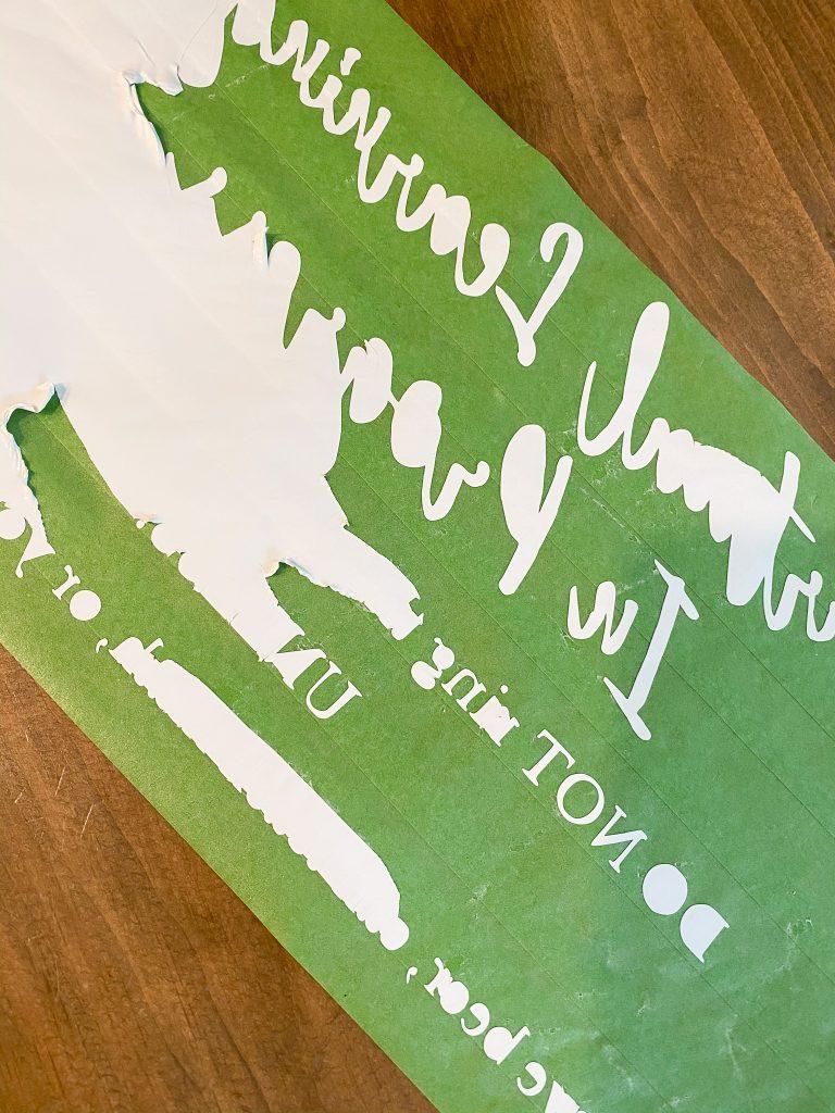 vinyl weeding, painter's tape hack