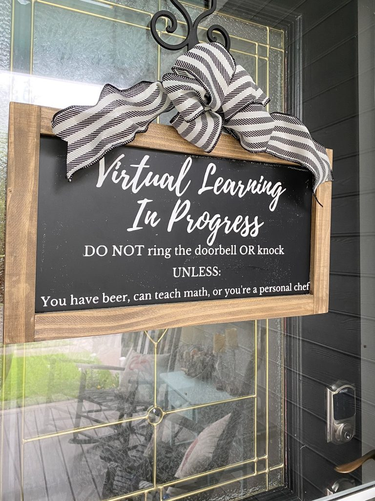 chalkboard sign, farmhouse sign, virtual home school sign