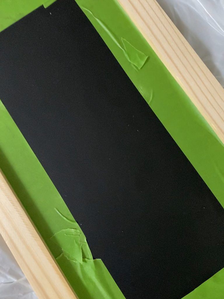 painter's tape, stain preparation