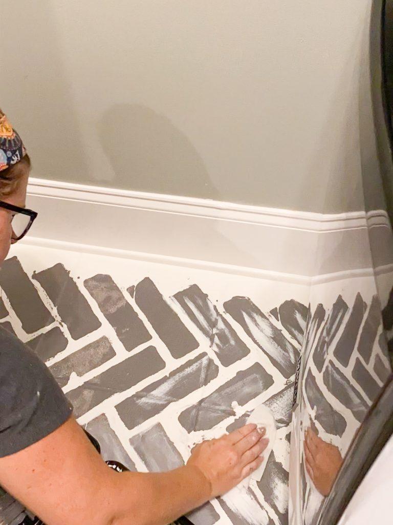 Faux brick stencil
