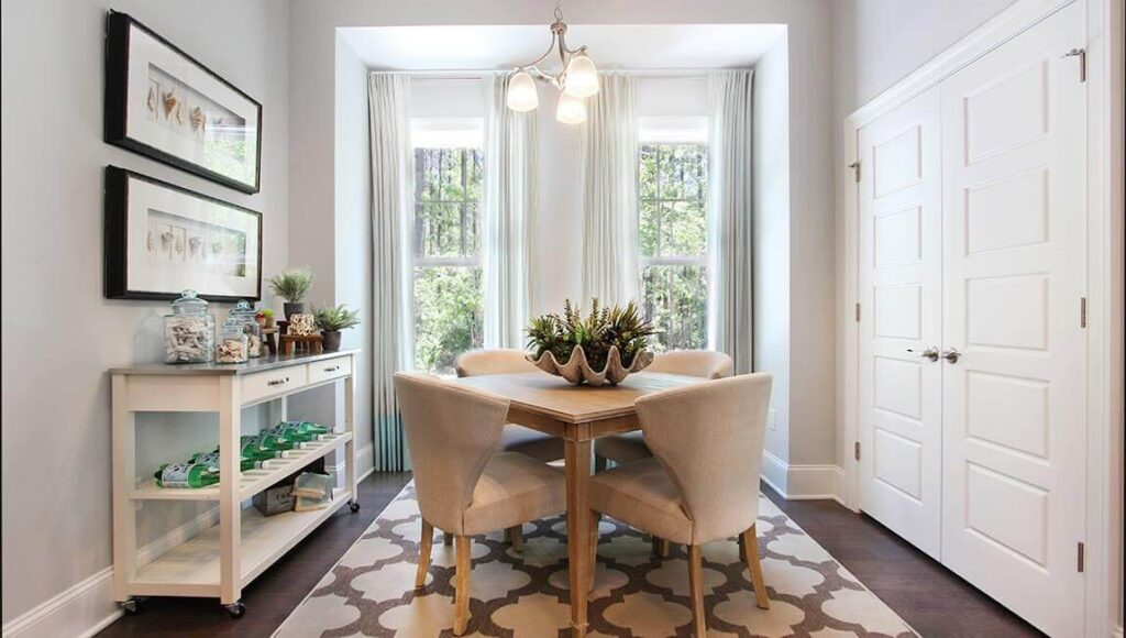 model home decorated eat in kitchen area