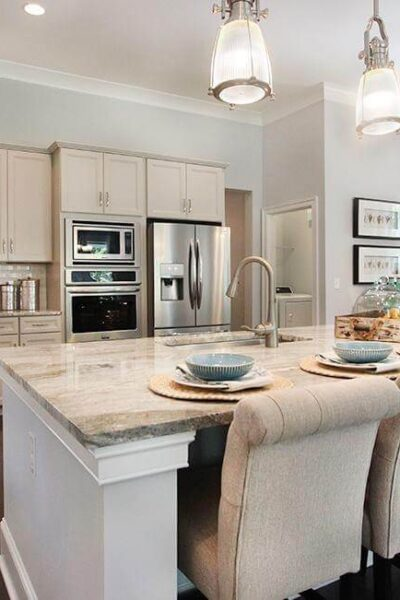 model home of kitchen showing decorated space