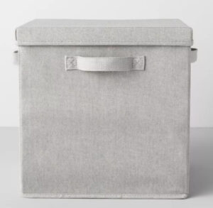 Gray fabric covered boxes with lid